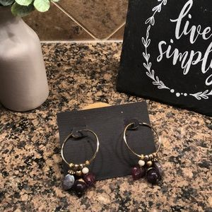 Vintage gold stone hoop earrings